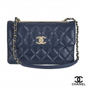 Chanel quilted navy flap Handbag